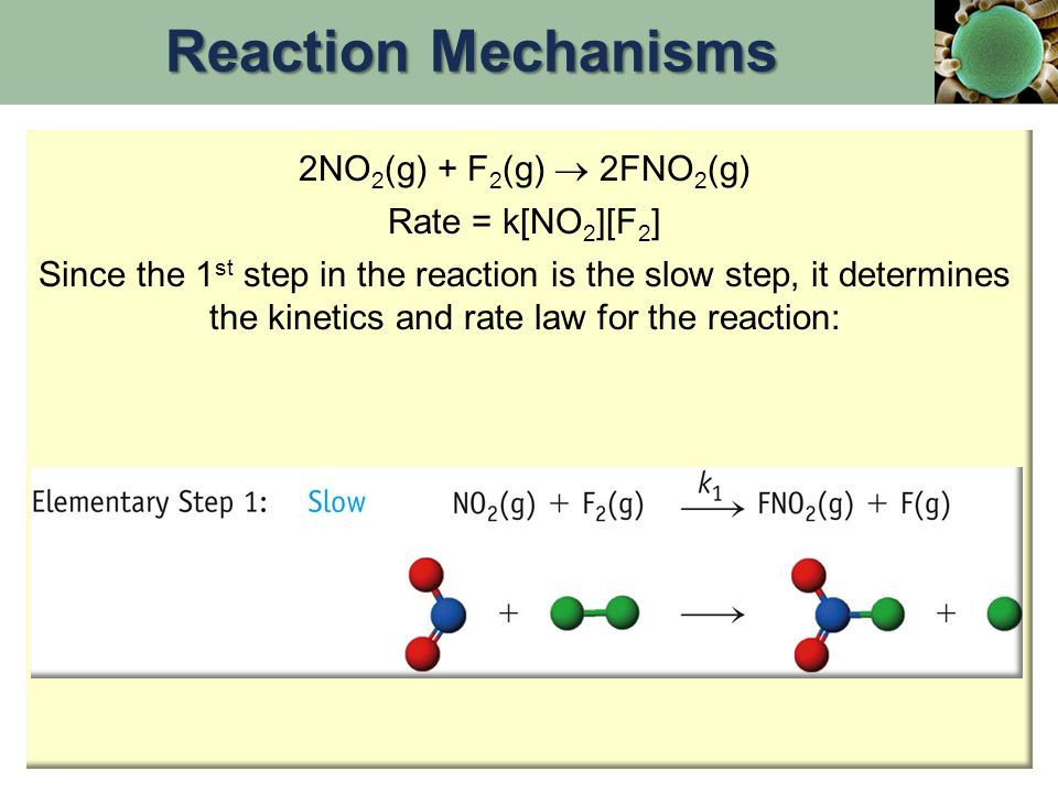 Reaction Mechanisms 2NO2(g) + F2(g)  2FNO2(g) Rate = k[NO2][F2]